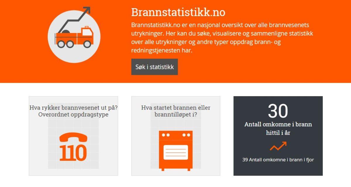 Norges brannstatistikk er blitt tilgjengelig for alle